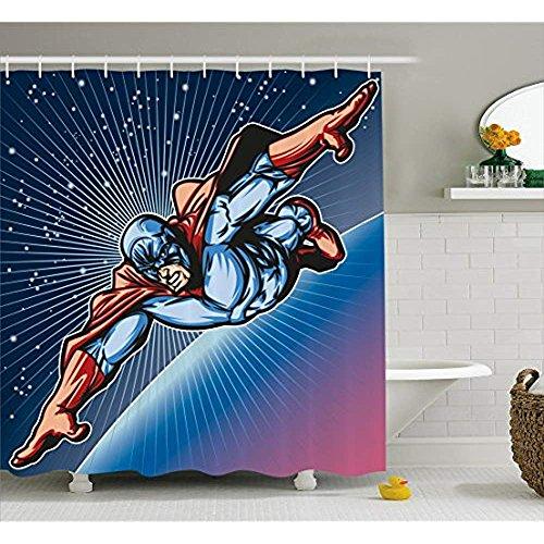 yeuss Superheld Vorhang für die Dusche von, Brave Maskiert Hero Flying auf Galaxy Mission Schutz der Universe Bild, Stoff Badezimmer Decor Set mit Haken, Violett Blau Rot 152,4x 182,9cm, 72