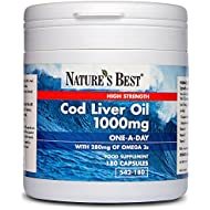 High Strength Cod Liver Oil 1000mg – UK's Strongest, One-A-Day Formula with 280mg Omega 3s & 10µg Vitamin D3-180 Capsules, UK-Made