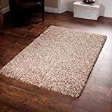 "AHOC Shaggy Rug Beige 963 Plain 5cm Thick Soft Pile 80cm x 150cm (2ft 6"" x 5ft 0"") Modern 100% Berclon Twist Fibre Non-Shed Polyproylene Heat Set - AVAILABLE IN 6 SIZES by Quality Linen and Towels"