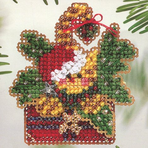 Mistletoe Kitty Beaded Counted Cross Stitch Christmas Ornament Kit Mill Hill 2004 Winter Holiday H116 by Mill Hill (Mill Hill Ornamente)