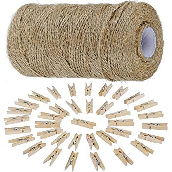 1000cm Jute Twine String and 50 x 3.5CM Mini Wooden Pegs,Stylish Way of Hanging