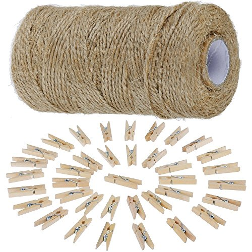 Anpro 812cm Jute Twine String and 50 psc Mini Wooden Pegs, Brown Hessian  Twine String for Photos - Christmas Card Holder, Arts Crafts Gift Twine and