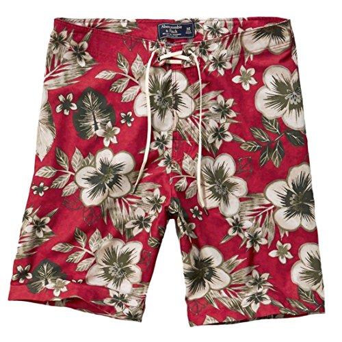 Abercrombie--hombre--A-F-9-Swim-Shorts--Pantalones-cortos-de-bao-Bermuda--Pantaln-pirata-Rouge--fleurs-X-Large