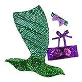 Infant Swimmable Meerjungfrau Schwanz Kootk Stirnband 3 STÜCKE Badeanzug Schwimmen Kostüm Grün 80