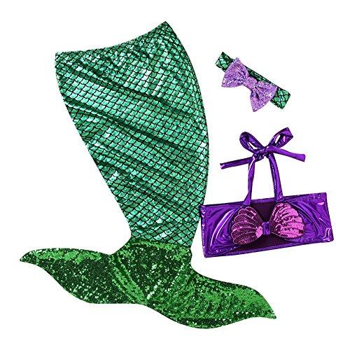 Kootk Infant Swimmable Meerjungfrau Schwanz Stirnband 3 STÜCKE Badeanzug Schwimmen Kostüm Grün 80