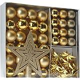 Stylehome 405440 - Set di decorazione per albero di Natale Meribel, Oro