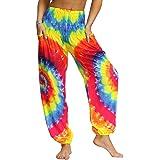 UMIPUBO Women's Hippie Pants Baggy Boho Patterned High Waist Smocked Waist Thin with Pockets Long Wide Leg Lounge Trousers Pa