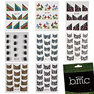 BMC 8 Sheet Temporary Nail Art Tattoo Effects Hydroplaning Water Transfer Stickers Decals Set - Fashion Beasts