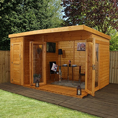 12 8 t g wooden contemporary summerhouse with side storage for Two room garden shed