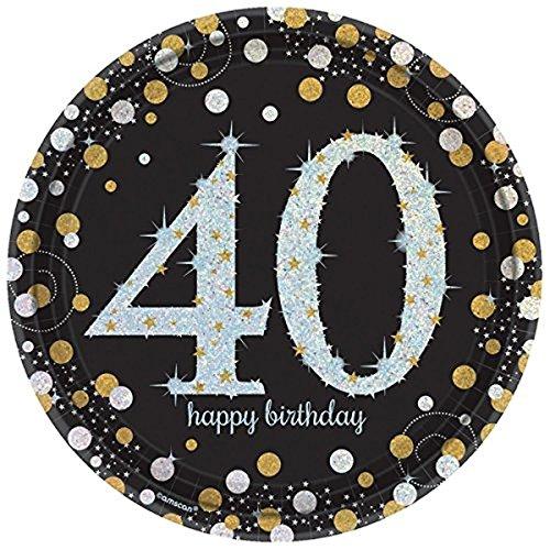 40.ster Geburtstag. Komplettes Party Set zum 40 Geburtstag Gold Schwarz Silber plus Glitter, 41 Teile komplette Dekoration zum 40 Happy Birthday - 5
