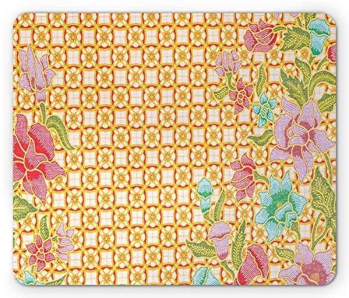 Batik-Mausunterlage, traditionelle malaysische Batik-Form mit Blume und Blättern Javanese Erbe-Zen-Entwurf, Standardgrößen-Rechteck-rutschfestes Gummi-Mousepad -