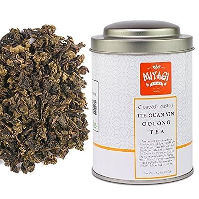 Miyagi Tea - Charbon de bois rôti Anxi Tie Guan Yin - Thé Oolong de première qualité - 5,29 oz (150 g)/boîte en fer-blanc