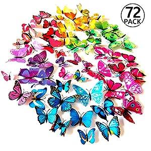 Foonii® 72 PCS 3D Schmetterlinge Wanddeko Aufkleber Abziehbilder,schlagfestem Kunststoff Schmetterling Dekorationen, Wand-Dekor (12 Blau, 12 Farbe, 12 Grün, 12 Gelb, 12 Rosa, 12 Rot)