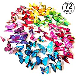 Foonii® 3D Papillons Papiers Décoration pour décoration de Maison et de Pièce, Stickers Muraux, 6 Couleurs, 72 Pièces (Rouge/Bleu/Jaune/Vert/Rose/Couleur)