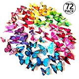 Foonii® 72 PCS 3D Schmetterlinge Wanddeko Aufkleber Abziehbilder,schlagfestem Kunststoff Schmetterling Dekorationen, Wa