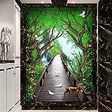 Hwhz Custom 3D Mural Wallpaper Forest Wooden Bridge Elk Flower Vine Fresco Living Room Hotel Entrance Background Wall Paper 3 D Mural-400X280Cm
