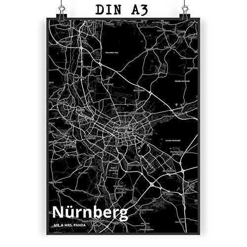 Mr. & Mrs. Panda Poster DIN A3 Stadt Nürnberg Stadt Black - Stadt Dorf Karte Landkarte Map Stadtplan Bild, Wandposter, Fan, Fanartikel, Souvenir, Andenken, Fanclub, Stadt, Mitbringsel