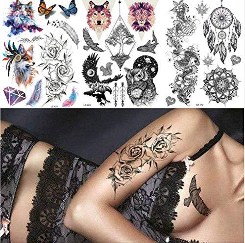 yyyDL Bunter vorübergehender Tätowierungs-Aufkleber 3D Skizze Rose Frauen Tattoo-aufkleber Für Männer Body Art Tattoo Papier Dreieck Lion Wolf Wasserdichte Tattoos 21 * 15 cm 4 stücke (Lion Papier)