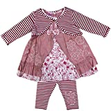 anja-wendt Set Baby Mädchen Sommer Kleid Tunika mit Leggins aufgenähte Schleifen Applikationen altrosa festliches schickes Outfit pink kleine Ärmel (92)