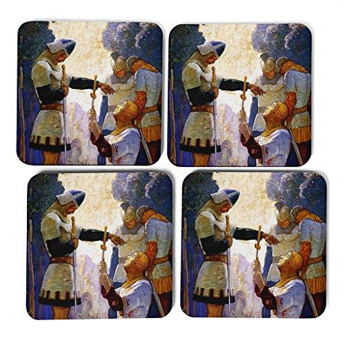 big-box-art-n-c-wyeth-death-of-orlando-coasters-multi-colour-9-x-9-cm-set-of-4