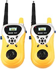 Magicwand Battery Operated Plastic Walkie Talkie Set with Extendable Antenna for Extra Range for Kids (Yellow)