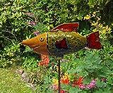 Fisch Keramik Agaue hellbraun, grün rot, Größe: ca 12 cm hoch, ca 28 cm lang. Eine Eisenstange kann aus versandtechnischen Gründen nicht mitgeliefert werden. (Sie ist in jedem Baumarkt erhältlich. Die Stange sollte 8 mm Durchmesser und mindestens 1 m Länge haben.)