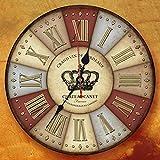 Clock.z Lying Dorf Pastoral Retro-Wohnzimmer-Wand-Taktgeber-kreative Minimalist Dekorative Quiet Holzschmuck hängen Uhren finden (Farbe : F)