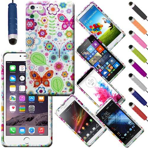 Monde de mobile® Apple iPhone 55C 5C Imprimé arrière en caoutchouc Style Coque en gel silicone + stylet d'écran LCD, Doggy Dog Style, a Multi Coloured Flowers