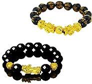 The Belcher's 2pcs/Set Feng Shui Good Luck Amulet Bracelet 12mm Mantra Beads Pi Xiu/Pi Yao Dragon Attrct Lucky Wealthy Money