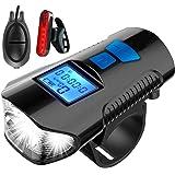 jojobnj Luci Bicicletta LED, USB Ricaricabili Luce Bici con Clacson, Impermeabili Luce Bici Anteriore e Posteriore, Super Lum