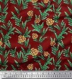 Soimoi Rot Satin Seide Stoff Blätter & Rose Blumen- Stoff