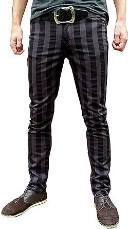 Fuzzdandy a Sigaretta Skinny Pantaloni Jeans a Righe MOD Indie Grigio Nero