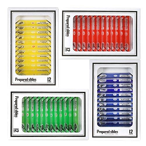 Walmeck Objektträger 48 Stücke Kunststoff Deckgläser Pflanzen Probe Objektträger Set mit Farbetiketten für Kinder Studenten