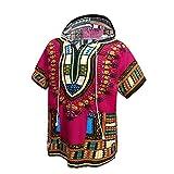 Orang Camicia Dashiki Africana Unisex Felpa con Cappuccio Tradizionale Indiana Tradizionale Africana, Taglia Unica (Hot Pink)