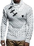 LEIF NELSON LN5255 Jersey de Punto suéter con Capucha de Manga Larga Jersey de Cuello Chal Hombres; Tamaño XXL,