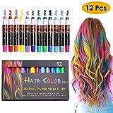 KIMILAR Haarkreide Kinder Auswaschbar 12 Farbe, Temporäre Haarfarbe Non-Toxic Hair Chalk Stifte, Perfektes Geschenk für Weihnachten Geburtstag Halloween