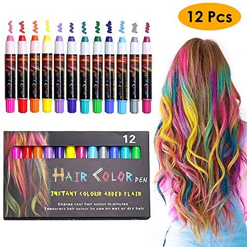 (KIMILAR Haarkreide Kinder Auswaschbar 12 Farbe, Temporäre Haarfarbe Non-Toxic Hair Chalk Stifte, Perfektes Geschenk für Weihnachten Geburtstag Halloween)