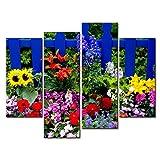 Leinwanddruck Bild für Home Decor Summer Flowers 4bunte Gemälde Moderne Giclée-gespannt und gerahmt-Kunstwerken Öl die Blume Bild Foto Druck auf Leinwand