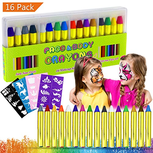 Buluri Gesichtsfarbe, 16 Farben Gesicht Körper Malerei Kits Sicher und Ungiftig Professionelle Schminken Sets mit 40 Schablonen, perfekt für Karneval, Ostern, Cosplay, Mottopartys (16 colors) (Make-up-kit Kinder Für)