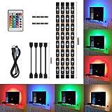 4 stks LED Strip Light,LED TV Achtergrond Verlichting Kit,Multi-Colour RGB 50cm LED Strip Licht met DC 5V USB-poort en IR Afs