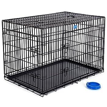 Songmics 2 Portes Cage Pour Chien - Pliable et Transportable - avec Poignée et Plateau (XXL: 122 x 76 x 81 cm, Noir)