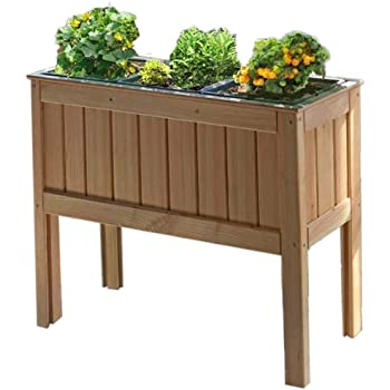 Gartenpirat Hochbeet Kräuterbeet aus Lärchenholz 100x37x80 cm Kräuter Gemüse Blumen für Balkon