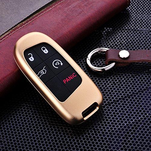 Gehäuse von M.JVisun für Autoschlüssel ohne herkömmlichen Schlüssel, nur für Smart-Car-Keys geeignet, für Modelle von Jeep, aus Premium-Aluminium in Luftfahrqualitä und Echtleder, mit Schlüsselanhänger, gold