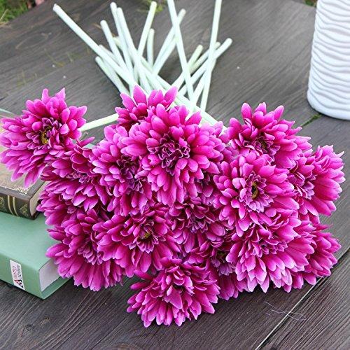 Bluelover 10Pcs Sunbeam künstliche Blume Mama Gerber Daisy Brautstrauß Seide Hochzeit Blumen...