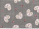 Baumwoll-Druck, Blumen-Herzen, kariert, schwarz-weiß,