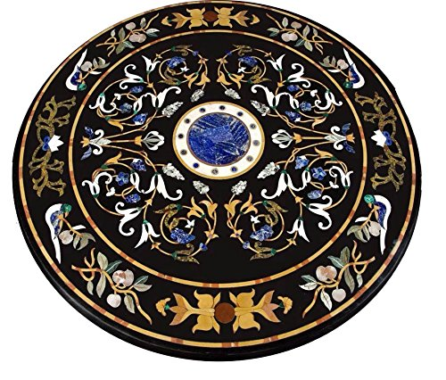 "60""X60"" Black Marble Round Coffee Dining Center Table Top Semi Precious Gemstone Marquetry Floral Home Decor"