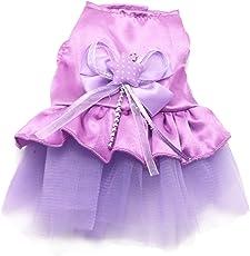 Pet Dress, HP95(TM)2015 Summer Dog Cat Bow Tutu Dress, Lace Skirt, Pet Puppy Dog Clothes Costume (XXS, Purple)