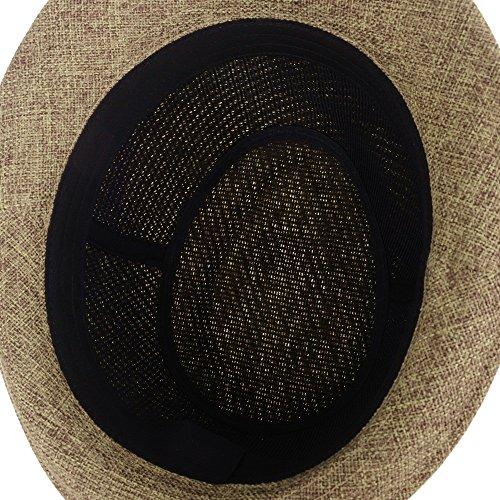WITHMOONS Chapeau Fedora Fedora Hat Summer Cool Straw Pastel Color LD6370 Jaune
