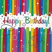 Unique Party 49562 - Tovaglioli di Carta per Compleanno con Nastri Arcobaleno, Confezione da 16