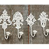 Boltze Gruppe 4429000, Pack of 4 White Hooks Shabby Chic / Vintage Ornament / Baroque Style / Set of 4 (Home & Garden)